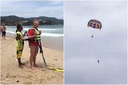 Shocking Moment as an Old Man Fell to His Death While Parasailing in front of Horrified Sunbathers